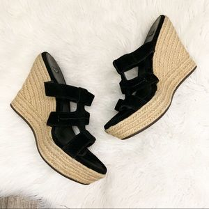 UGG Tawnie Suede Wedge Platform Sandal Black 9